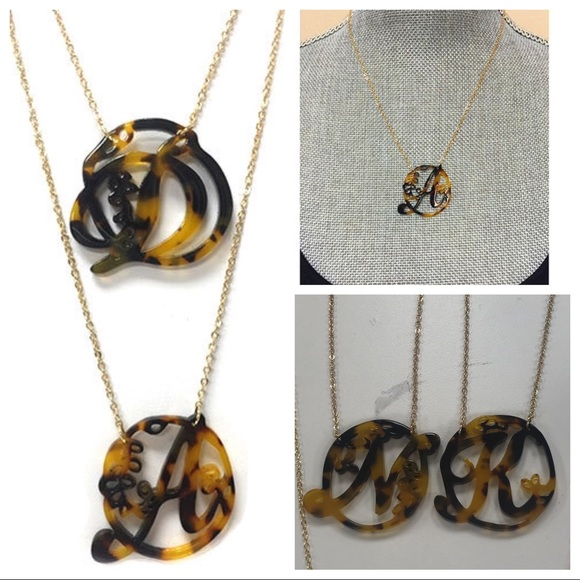 179908cf2 ZokyDoky Jewelry | Tortoise Shell Resin Initial Necklaces Nwt | Poshmark